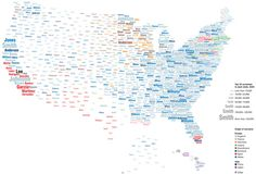 What's in a Surname? : A view of the United States based on the distribution of common last names compiled by geographers at University College London.   http://worldnames.publicprofiler.org/