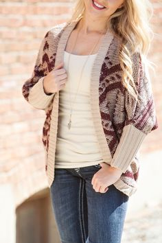 Cozy up for FALL 2014 in our NEW burgundy and taupe Aztec sweater | Shop Hoity Toity for Back to School