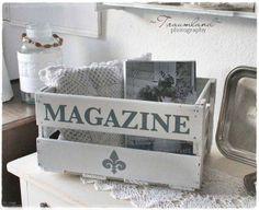 Süße Idee zum Zeitschriften aufbewahren! -Weinkiste bemalen