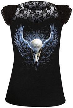 Tee Shirt Femme Spiral DARK WEAR - Raven Cage www.rockagogo.com