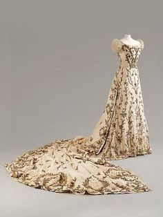 Charles Frederick Worth Evening Dress 1900-1903 with Indian embroidery made of silk with silver and gold thread and bullion work, House of Worth. Fashion Museum, Bath. by shana