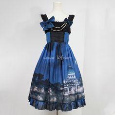 Customized Vatican Castle Pattern Lolita Chiffon Vest Dress 3 Colors Harajuku Fashion, Japan Fashion, Lolita Fashion, Fashion Outfits, Harajuku Style, Visual Kei, Grunge, Gothic Lolita Dress, Dress Out