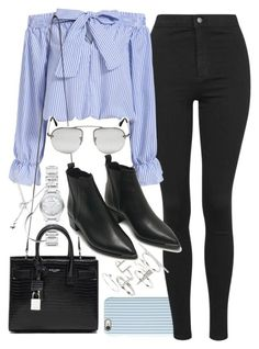 """Outfit with black jeans and boots"" by ferned on Polyvore featuring Isaac Mizrahi, Burberry, Topshop, Yves Saint Laurent, Acne Studios, Prada, Forever 21, women's clothing, women and female"