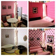 Travel Doll House made from three ring binders! Really cute idea for a Barbie-loving little girl!