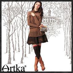 Artka - Артка & Artka Юбка A- силуэта в стиле ретро с вышивками и поясом QA10049D-м