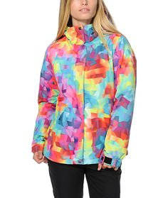 Stand out in the mountains this season with this colorful kaleidoscope print snowboard jacket made with a water-resistant exterior and warm poly insulated fill.