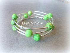 """Bracelet mémoire de forme """"Plage brésilienne"""" en pâte polymère : Bracelet par lapatedeyuki"""