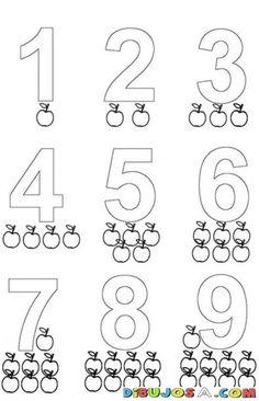moldes de numeros com frutas para imprimir