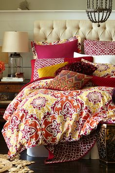 Pier 1's Rosa Tile Bedding wakes up the bedroom with a warm palette of red, orange and yellow Moroccan tile patterns. The generously sized duvet cover has inside ties at all four corners to keep inserts from shifting, and our pillow shams feature decorative ties on the back.