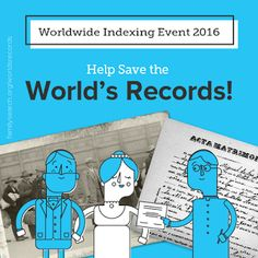 SCGSGenealogical Society Blog.  Please join the Southern California Genealogical Society and index some records during the Worldwide Indexing Event 2016 July 15-17, 2016!