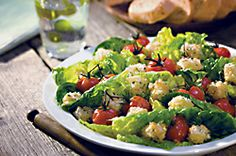 Crunchy Brie Cubes and Roasted Tomato Salad (with Castello® Brie) #appetizer #brie #recipe