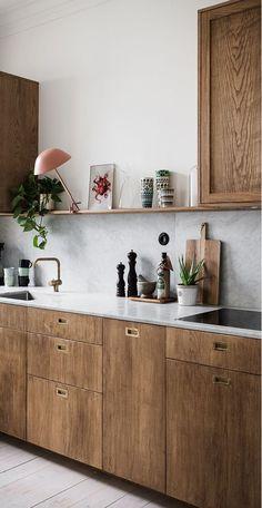 Home Interior Design — Is the All-White Kitchen Trend Finally Over? Is the All-White Kitchen Trend Scandinavian Kitchen Cabinets, Scandinavian Interior, Kitchen Decor, Kitchen Ideas, Kitchen Wood, Scandinavian Apartment, Gold Kitchen, Ikea Kitchen, Contemporary Interior