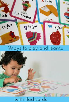 Ways to play and learn with flashcards - for speech and language development, turn taking, letter, shape and colour recognition and so many more things! Educational Activities For Kids, Phonics Activities, Preschool Learning, Infant Activities, Toddler Preschool, Preschool Activities, Teaching, Play Based Learning, Kids Learning