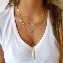 DIY Nueva Joyería Granos de la Turquesa Esmalte Collares Hoja de 3 Capas Collar de múltiples capas Collares para las mujeres SN671(China…
