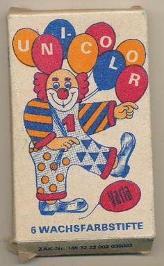 """Wachsfarbstifte """"Unicolor"""". Copyright: DDR Museum, Berlin. Eine kommerzielle Nutzung des Bildes ist nicht erlaubt, but feel free to repin it!"""