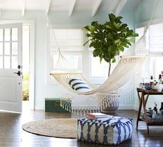 Create an outdoor hang out space indoors with a hammock!