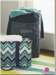 NEW for Fall 2015.....the Stand Tall Bin in Navy Dancing Dots!