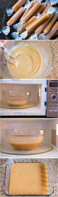 Micro-ondes Caramels - ceci est une de mes recettes préférées de ma vie !! Ces caramels sont incroyables et ils sont fabriqués en 7 minutes au micro-ondes! Ne pas faire beaucoup mieux.