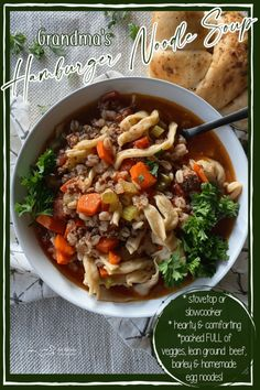 Hamburger Soup - With or Without Noodles Healthy Soup Recipes, Chili Recipes, Delicious Recipes, Easy Meal Plans, Easy Meals, Hamburger Soup, Hamburger Recipes, Chowder Recipes, Yummy Eats