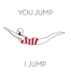 Vintage swimmer illustration: You jump I jump