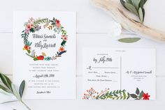 Rustic Wedding Invitation DIY Wedding Invitation by CoralLanePaper