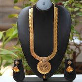 Temple Coin Laxmi Pendent White Pearl Long Necklace Set