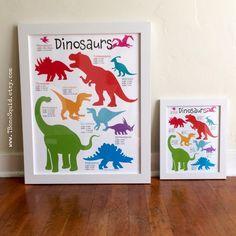 TBoneSquid shared a new photo on Etsy Kids Room Accessories, Dinosaur Posters, Dinosaur Nursery, Fun Learning, Nursery Art, Baby Room, Playroom, Make It Yourself, Dinosaurs