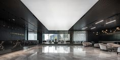a Office Interior Design, Office Interiors, Marble Carving, Thai Design, Dark Tree, Entrance Design, Waiting Area, Empty Spaces, Coworking Space