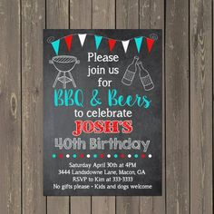 Beer and BBQ Birthday Invitation Beers Barbecue by PartyPopInvites