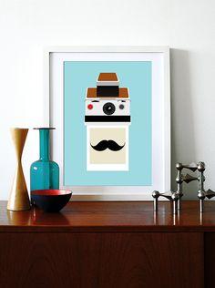 Polaroid mustache poster print retro mid century modern by yumalum, $29.00
