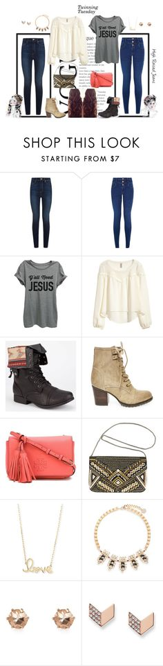 """High Raised Jeans"" by mgilde ❤ liked on Polyvore featuring New Look, H&M, Diva Lounge, Steve Madden, Tory Burch, Avenue, Sydney Evan, Anton Heunis, River Island and FOSSIL"