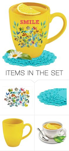 """""""Decorate a Yellow, Black or Red Cup"""" by thoughts-of-thea ❤ liked on Polyvore featuring art, yellow, floral and homedecor"""