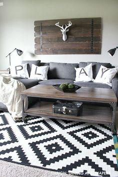 Love the rug!!!  Rustic Modern Playroom/Bonus Room seating area