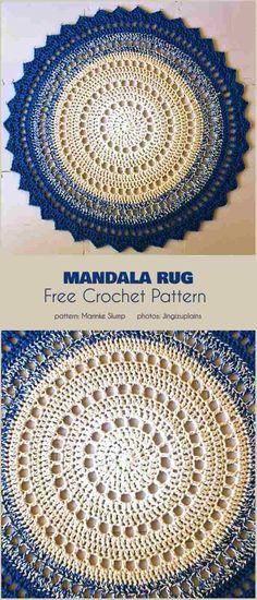 25 Ideas For Crochet Mandala Rug Pattern Motif Mandala Crochet, Mandala Rug, Crochet Circles, Crochet Round, Crochet Doilies, Crochet Summer, Crochet Pattern Free, Crochet Rug Patterns, Crochet Stitches