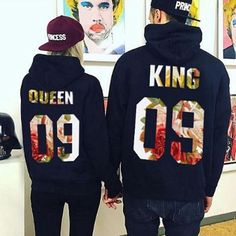a58d76171900c KING Queen Print Unisex Men Women Autumn Hoodies Slim Sweatshirt for Couple  matching Lovers Winter Patchwork Hooded Pullovers