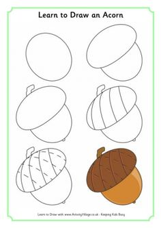 Learn To Draw Learn to draw an acorn Fall Drawings, Halloween Drawings, Autumn Art, Autumn Trees, Fall Leaves, Drawing Lessons, Art Lessons, Drawing For Kids, Art For Kids