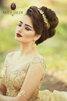 Makeup MaraviLinda ❤ Arabic Hairstyles, Curly Hairstyles, Fancy Hairstyles, Bride Hairstyles, Trending Hairstyles, Wedding Updo, Bridal Lipstick, Bridal Beauty, Bridal Makeup