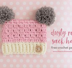 Dusty Rose Sack Hat - Free Crochet Pattern in 5 Sizes | www.thestitchinmommy.com #CrochetBeanie