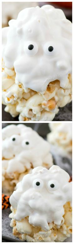 Ghost Popcorn Balls ~ Easy and fun… 5 ingredient GHOST popcorn balls! Ghost Popcorn Balls ~ Easy and fun … 5 ingredient GHOST popcorn balls! Halloween Snacks, Halloween Goodies, Halloween Party, Halloween Cupcakes, Halloween Costumes, Holiday Desserts, Holiday Treats, Holiday Drinks, Party Desserts