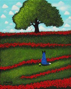Australian Cattle Dog original folk art painting by Todd Young 8x10