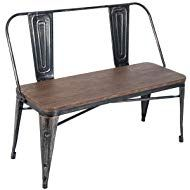 Merax Rustic Vintage Style Distressed Dining Table Bench with Wooden Seat Panel Metal Backrest and Metal Legs, Distressed Black Dining Table With Bench, Dining Room Bar, Dining Chairs, Industrial Dining Benches, Wood Benches, Industrial Farmhouse, Industrial Style, Farmhouse Style, Rustic Table