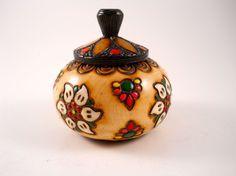 Wooden Box Turkey Flowers Lid Trinket box by MissPattisAttic