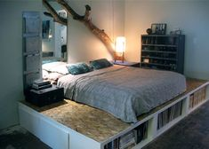 DIY Platform Bed With Storage | boxspring beds went to a wood bunk bed styles and