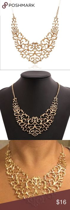"Carved Scroll Gold Tone Vintage Statement Pendant This is a very beautiful and delicate lace scroll metallic gold tone statement necklace.  Decoration measures 4.5""' wide and 5.25"" high, with a quality clasp that will hook to any link in the chain for your choice in length options from collar choker to longer lengths as shown.  Bundle with our other closet items to receive 15% off your total purchase and only the one flat $5.95 Posh ship fee.  With ship fast with FREE NWT GIFT .  Elegant…"