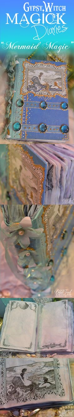 """Mermaid Magic"" handmade water element spiritual journal by OddSoul on Etsy. $44.99"