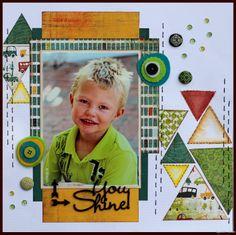 You Shine - Basic Grey Wander Scrapbook Storage, Kids Scrapbook, Scrapbook Paper Crafts, Scrapbook Albums, Scrapbook Cards, Scrapbook Sketches, Scrapbook Page Layouts, Scrapbook Designs, Book Design Layout