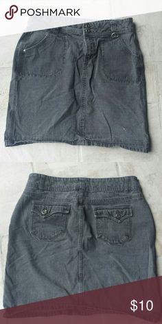 Gray/black wash denim above the knee skirt, size10 Size 10 above the knee skirt, black/gray wash denim Skirts