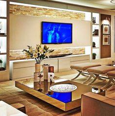 Sala de TV com parede de tijolinhos #homedecor #living #tvlounge #interiordesign #decoração