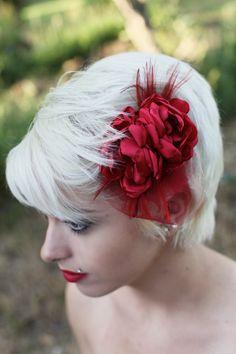 Scarlet Red Bridal Flower Hair clip by browneyedgirlsboutiq, $32.00