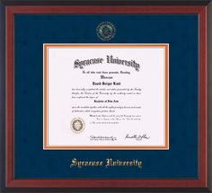 Syracuse University Diploma frame with premium hardwood moulding and official Syracuse seal and name embossing - blue suede on orange mat. All archival materials, including UV glass. A great graduation gift!